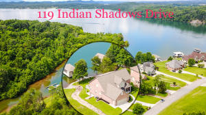 Aerial View of home & lot with private dock off main channel of Tellico Lake.