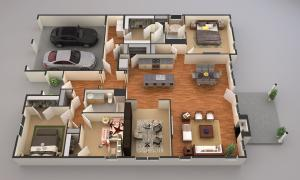 3D rendering of floorplan