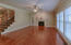 Great room with gas logs fireplace and lots of light!