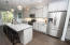 Gray cabinetry is classic and modern