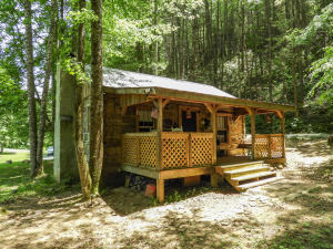 This property is no doubt where stunning Smoky Mountain nature meets modern day luxuries. This adorable studio log cabin is perfect for you or your guests to experience stepping off the beaten path, walking away from superficial tourist activities and unplugging while embracing the cultural environment. Some might consider this glamorous camping, also known as ''Glamping''. Either way, this property offers modern amenities such wall unit A/C, running water, shower, electric, small kitchen and wood burning fireplace. This cozy cabin is nestled in a gorgeous setting and is surrounded by nature. You will surely enjoy sitting on your covered porch and listening to the sounds of your very own year around bubbling creek.