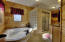 Soaking tub, walk-in shower.