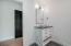 Wonderful 3 drawer white vanity with honed black granite top