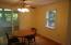 Brightly lit dining room