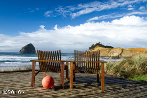 Outside deck area with views of Cape Kiwanda & Haystack Rock