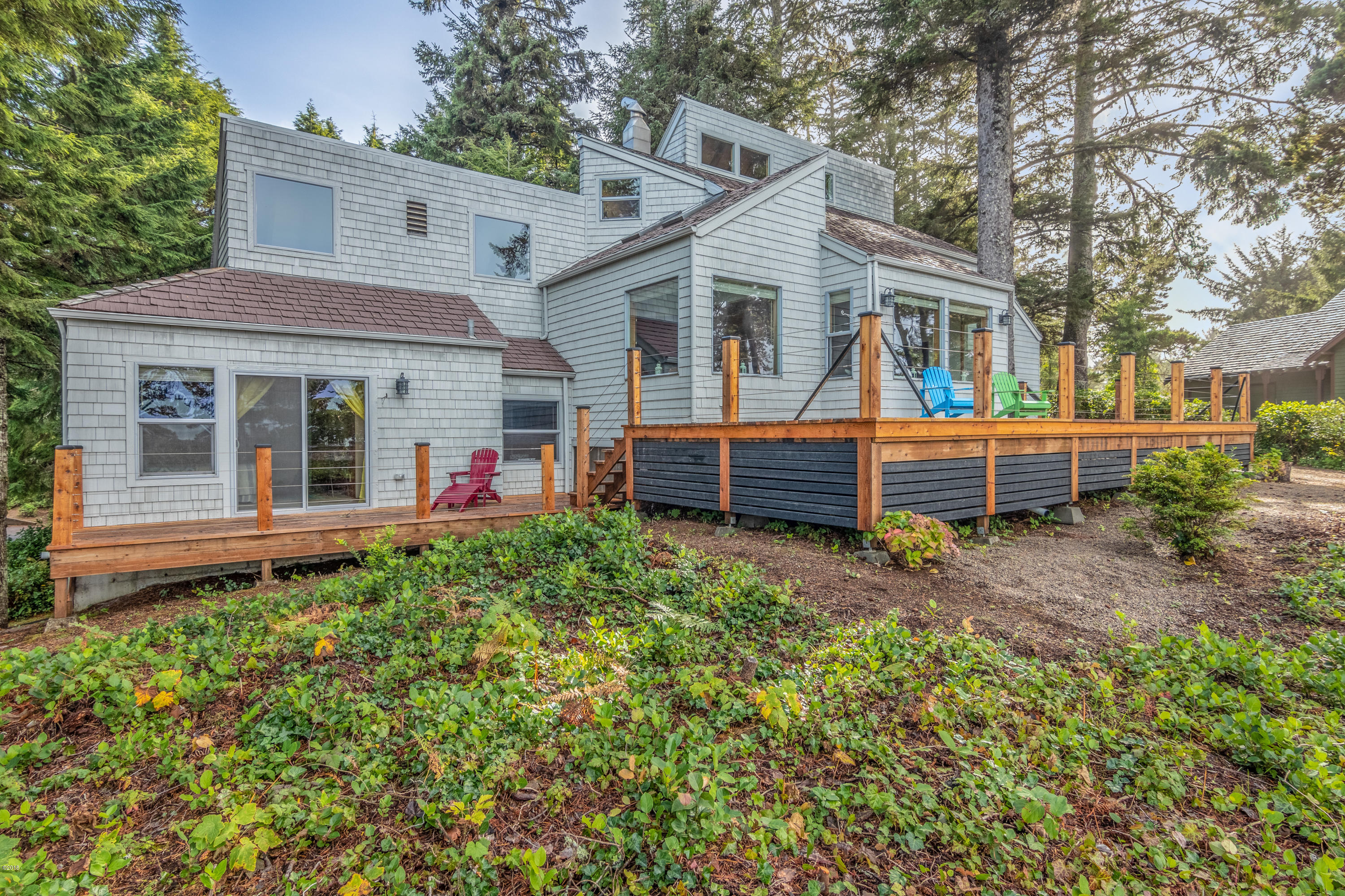 141 E Bay Point Rd., Lincoln City, OR 97367 - Exterior with Wrap Around Deck