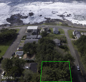 452 4th St, Yachats, OR 97498 - 4th street aerial outlined ocean