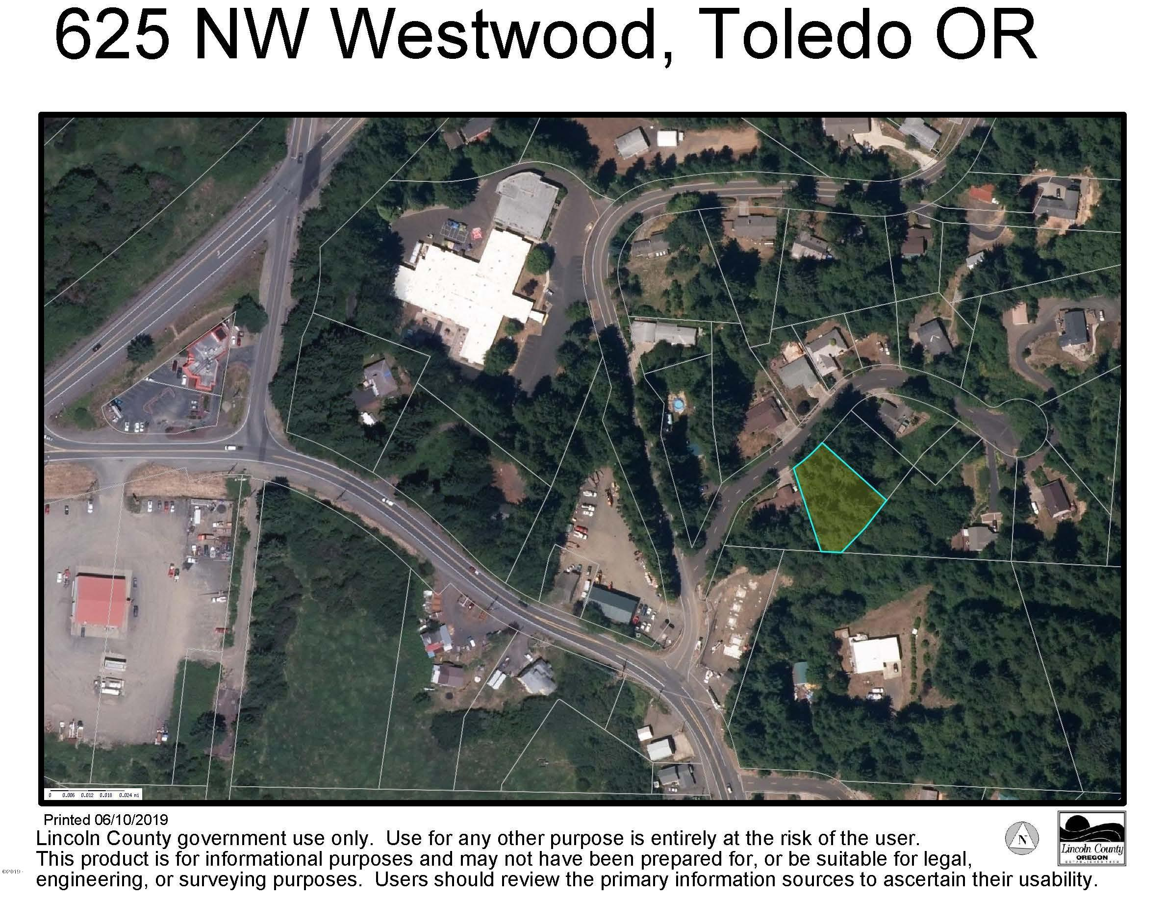 625 NW Westwood Street, Toledo, OR 97391 - Surveyors Aerial Map