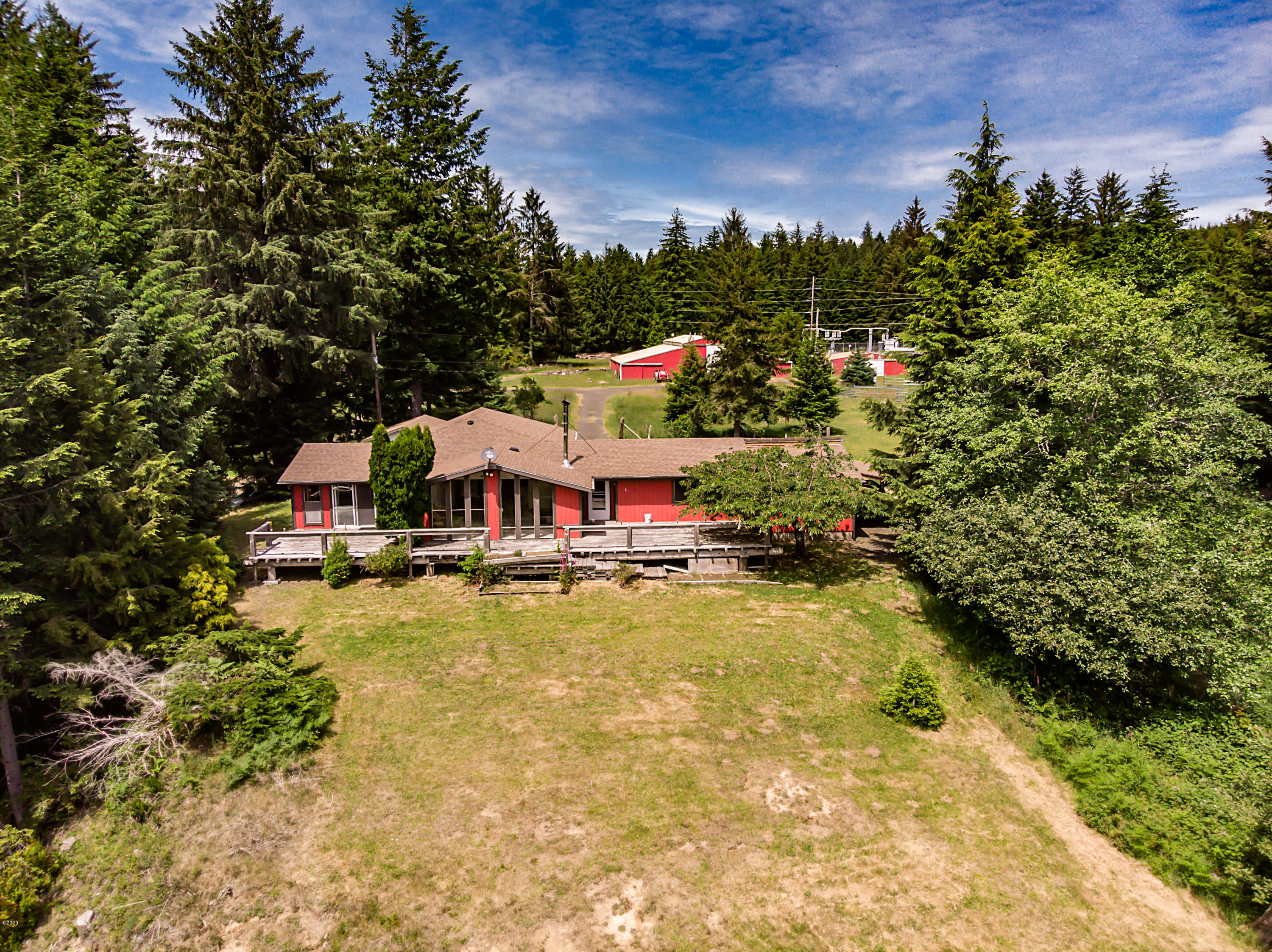 3021 N Bayview Rd, Waldport, OR 97394 - Drone view of main house