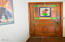1270 NW Camrose Dr, Seal Rock, OR 97376 - Bedroom 1 Stained Glass Door
