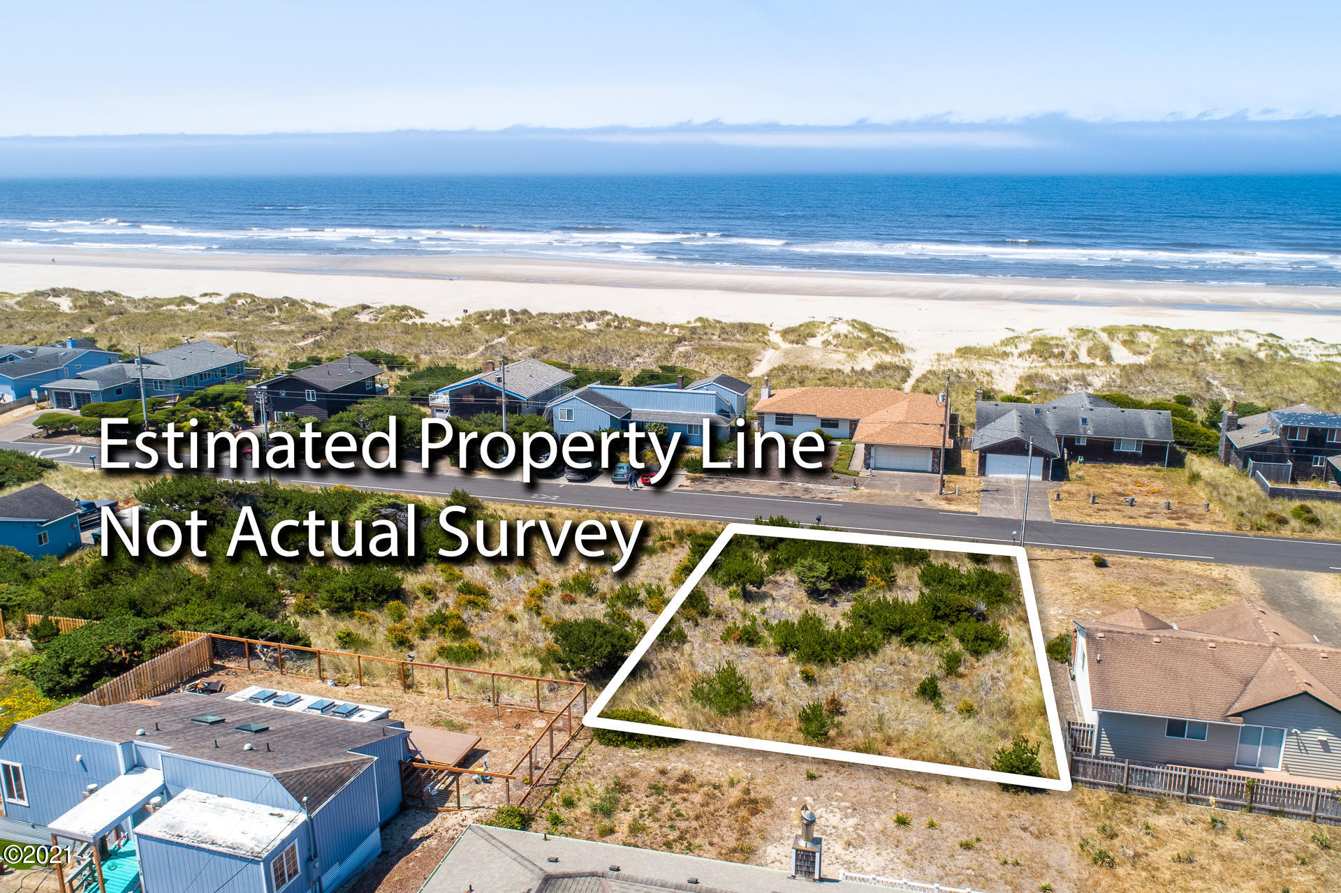 2401 NW Oceania Dr, Waldport, OR 97394 - Property Lines in Relation to the Beach