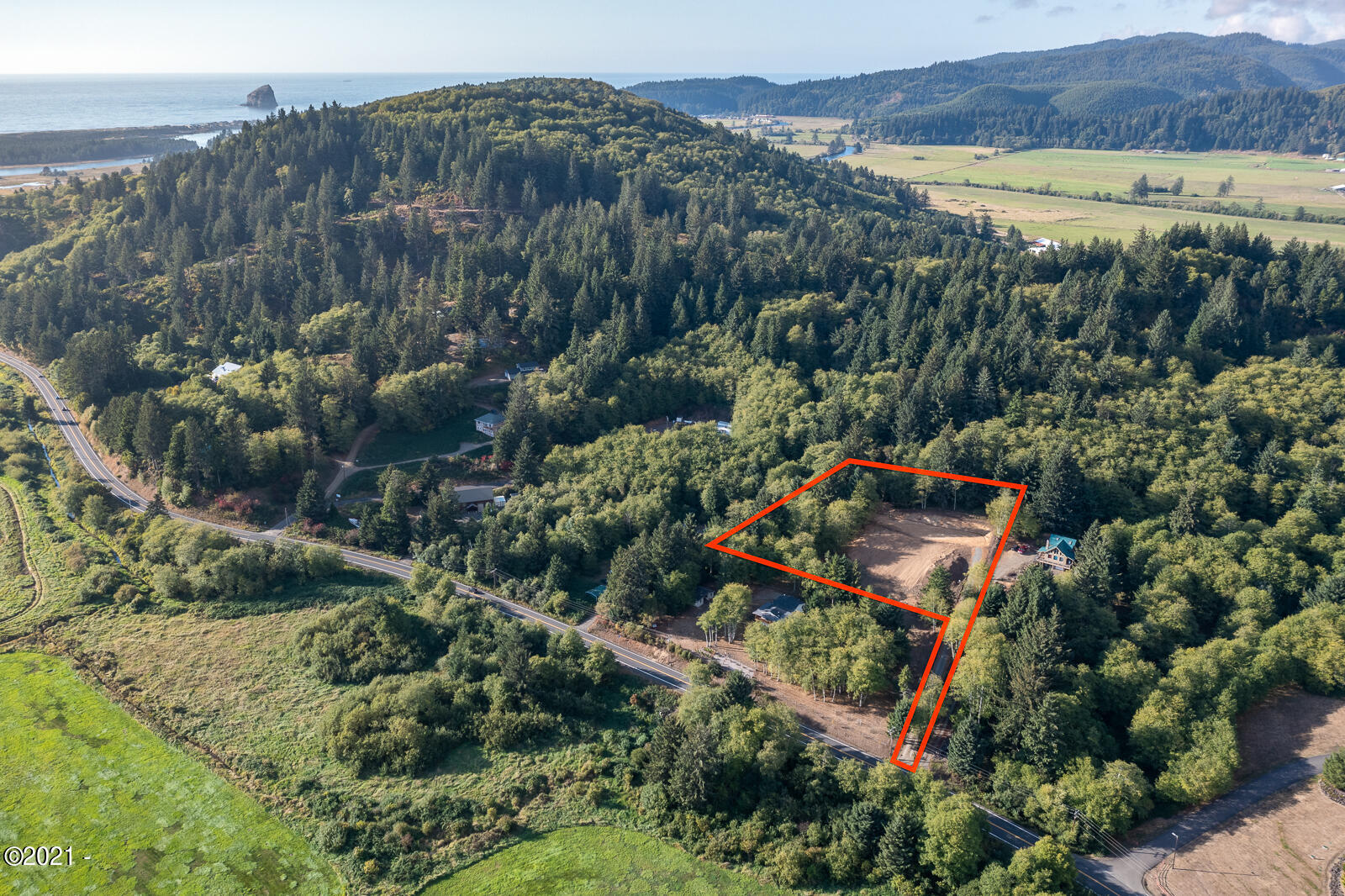 PARCEL 2 Brooten Rd, Pacific City, OR 97135 - Drone shot with appox lot lines