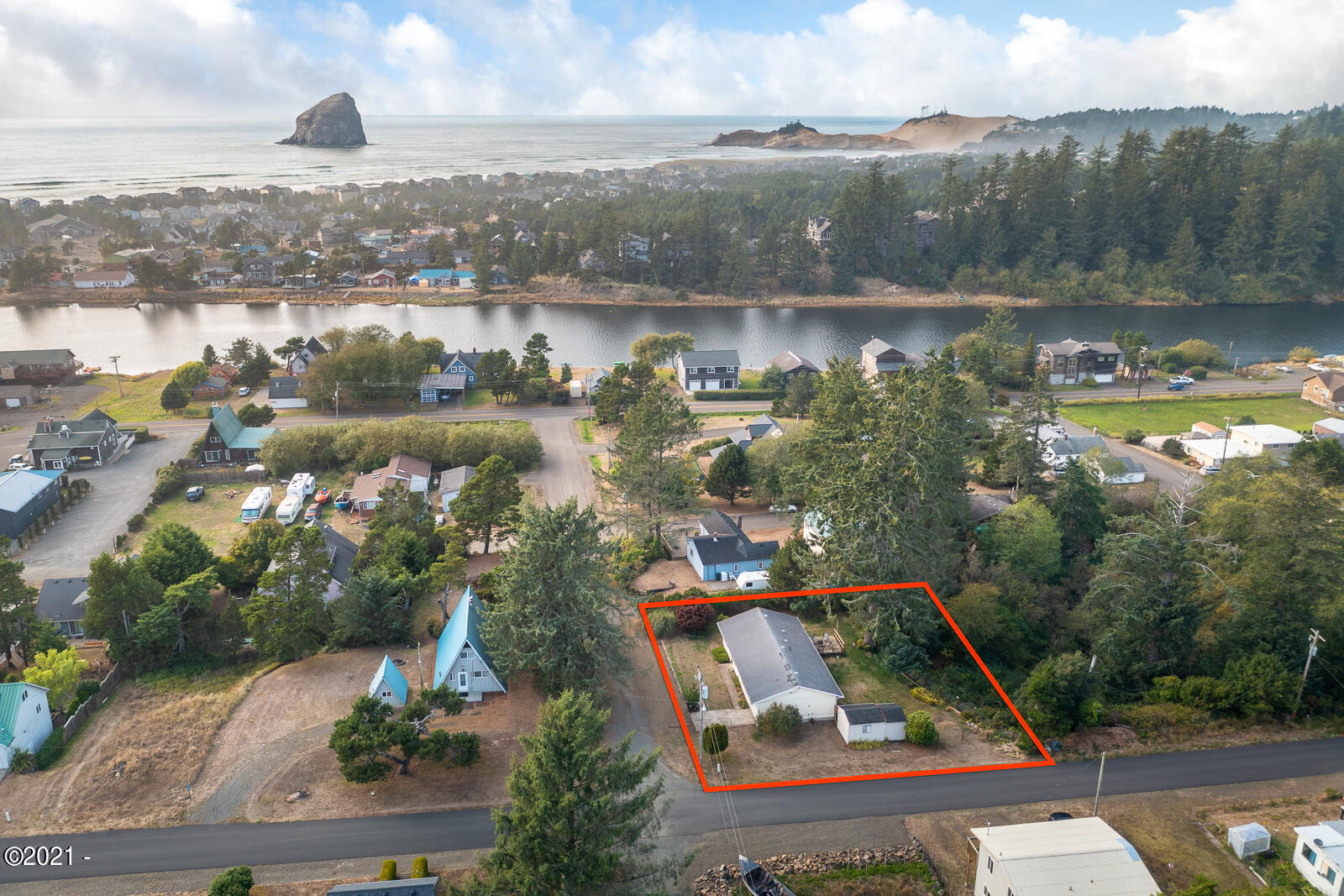 6480 Camp St, Pacific City, OR 97135 - Aerial with Boundry