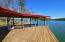 Large sitting area on dock. Trees and design give this area afternoon shade.