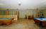 Finished basement with beautiful concrete floors