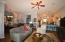 Great room with fireplace open floor plan with 10 foot ceilings