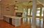 Kitchen island and living area