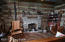 Interior shot of the log cabin.