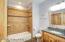 Tile Shower and floor, Custom vanity with Granite Sink