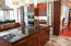 Kitchen island with great access to the Gas Cooking and Double Oven