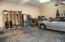 Two car garage with plenty of storage space