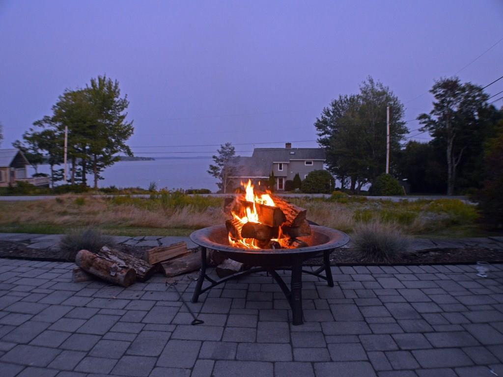 A fire on a cool summer evening.