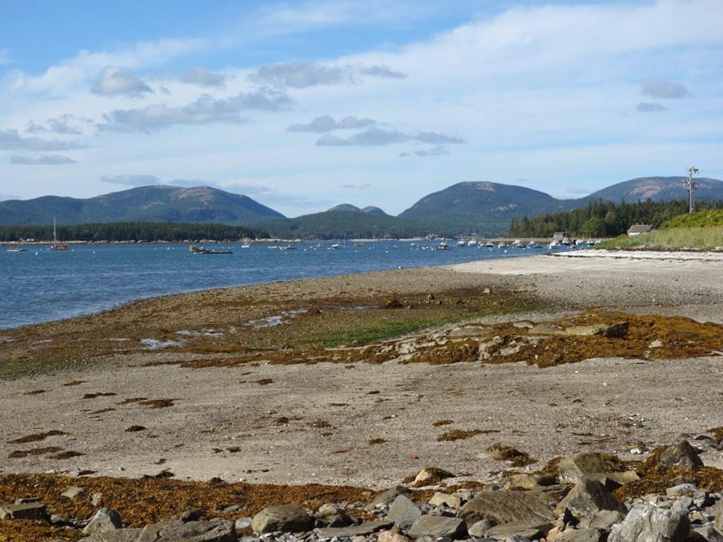 Sandy beach and view toward the harbor