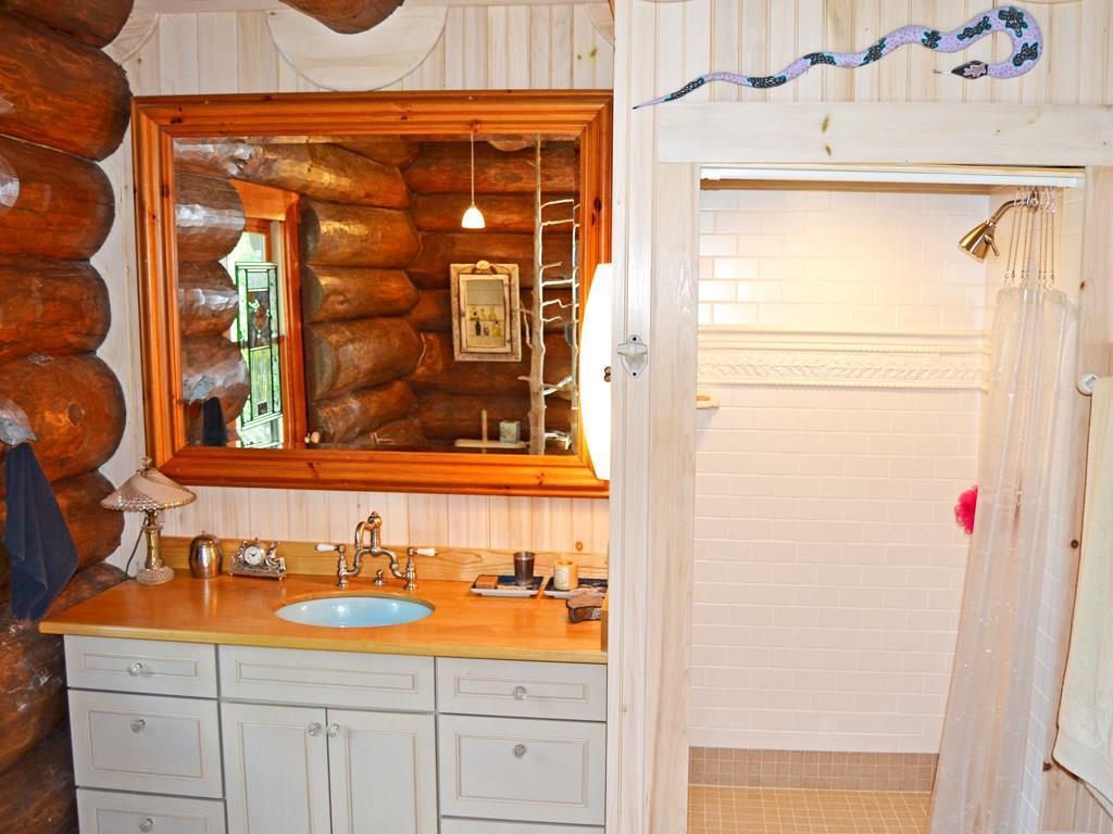 Master Bathroom vanity and shower.