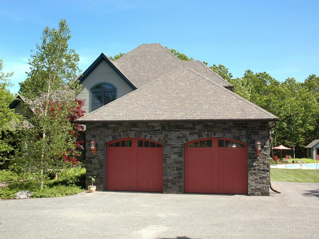 Attached Garage with Custom Doors