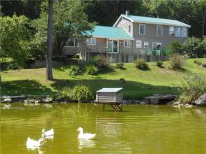 Fully sided home with metal roof located on 2 acres with Pond.
