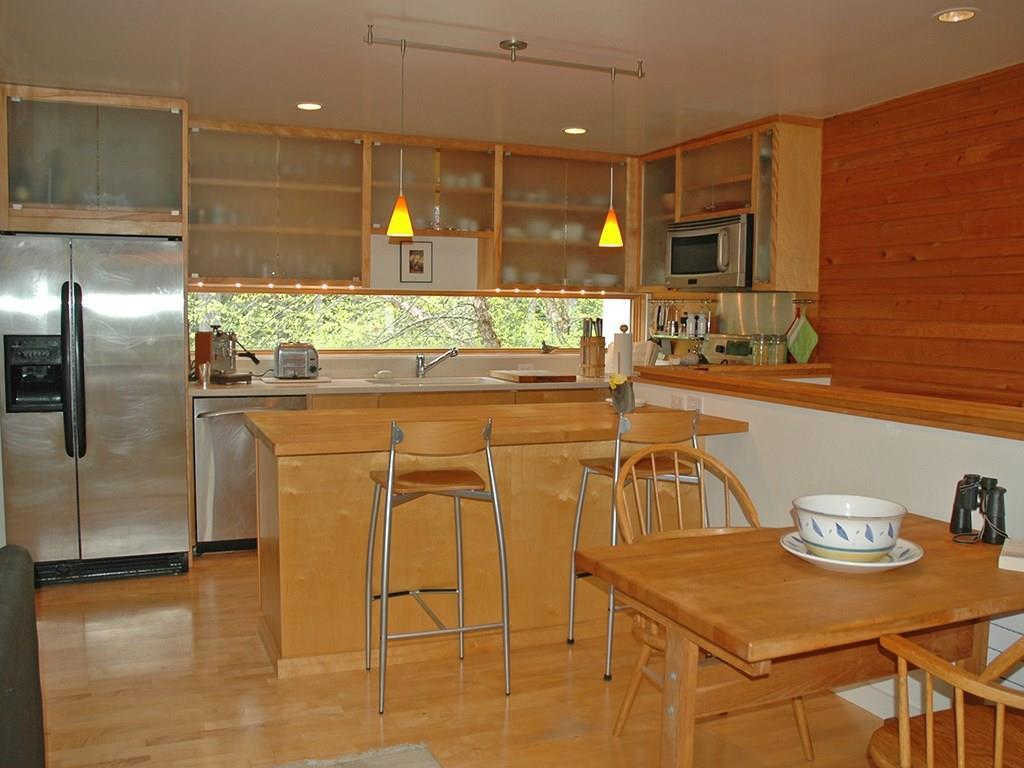 Kitchen with custom cabinets.