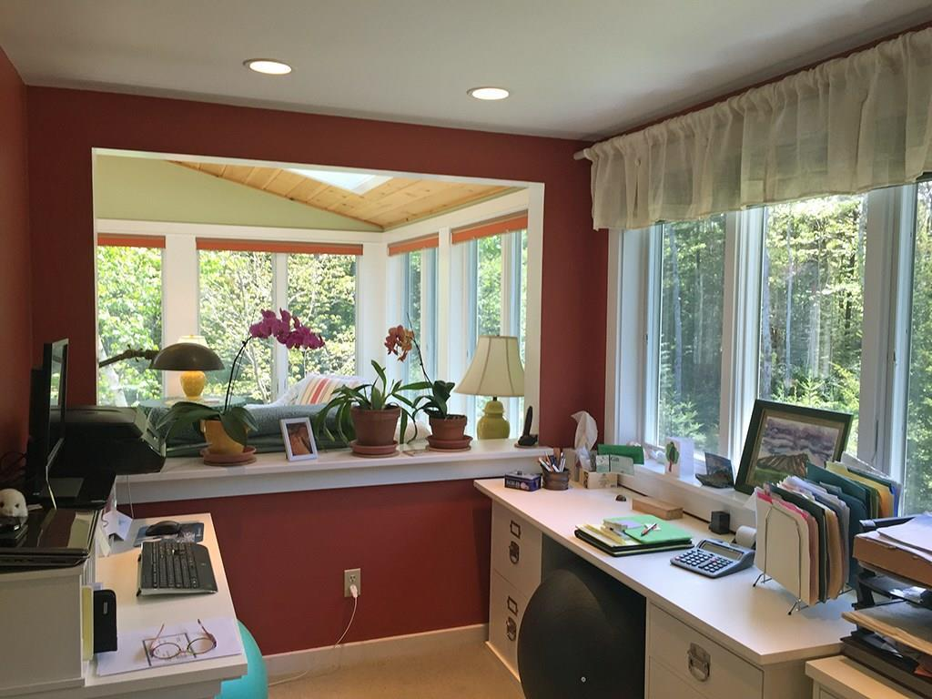 Open, home office with views.