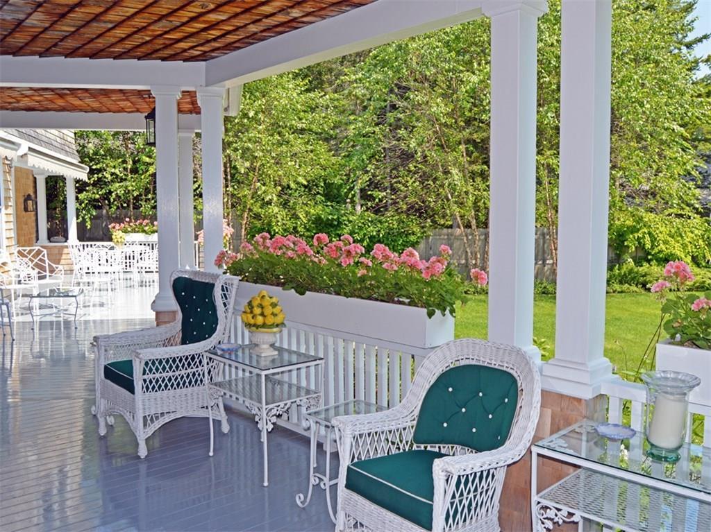 Porch overlooking gardens