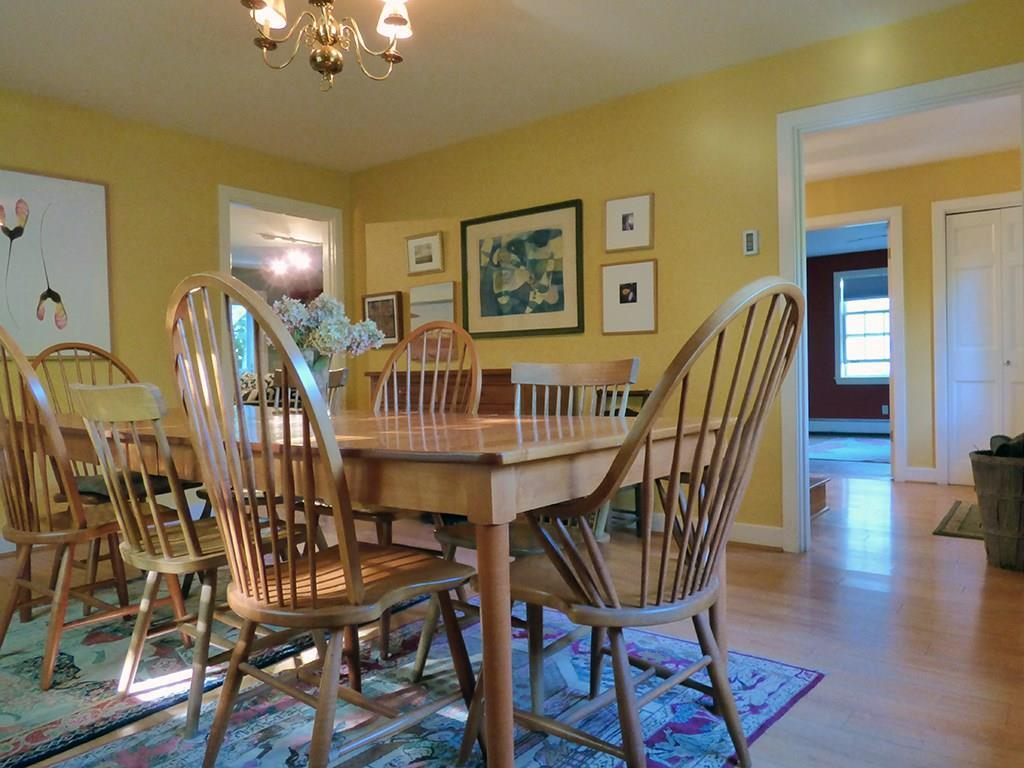 Dining room with beautiful hardwood...