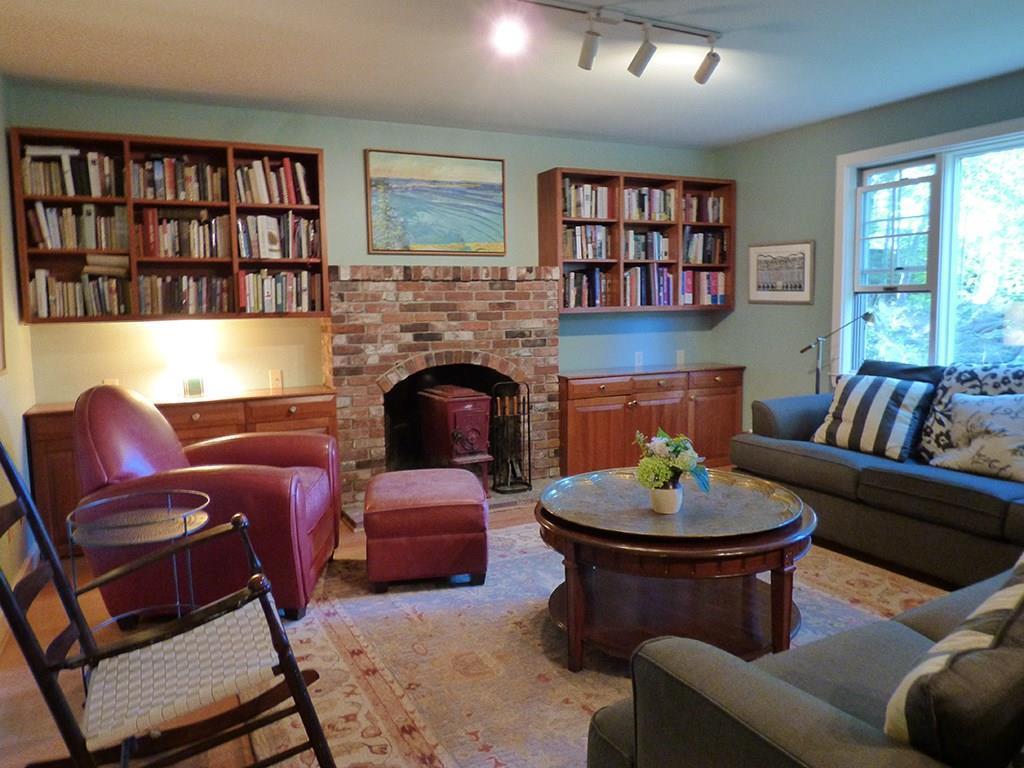 Living room with custom cherry...