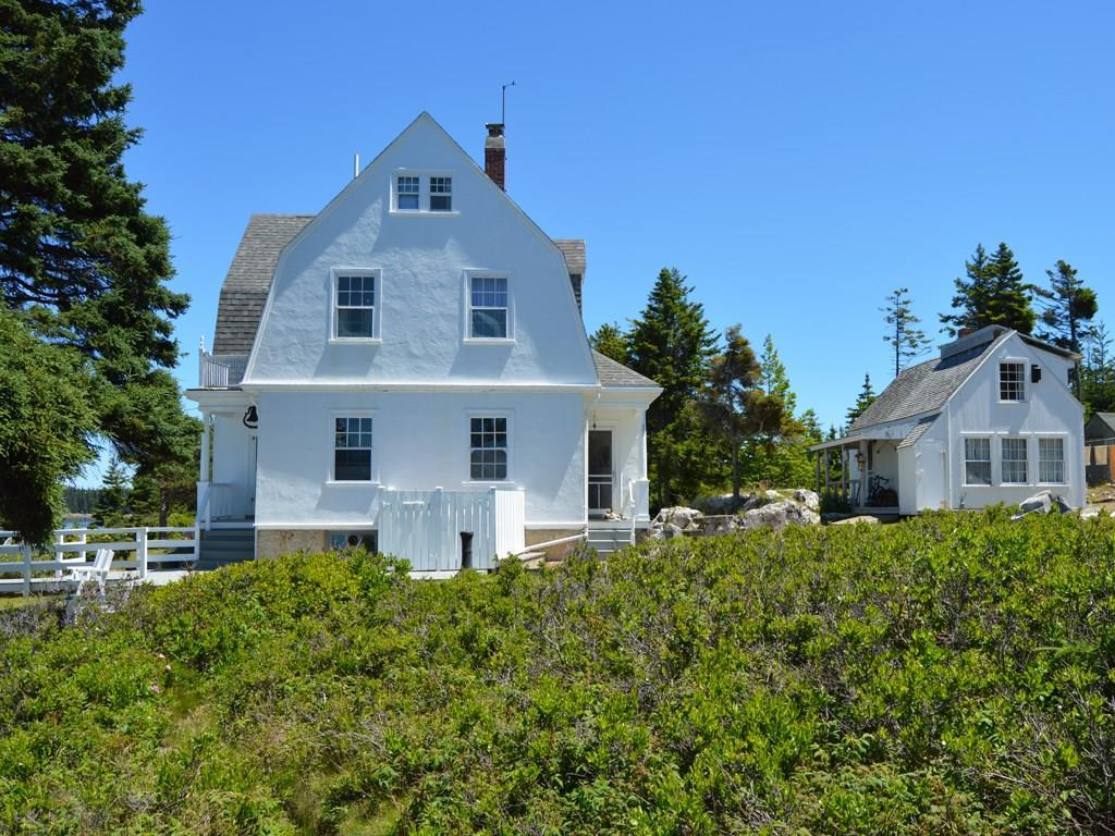 A view of the main house and the...