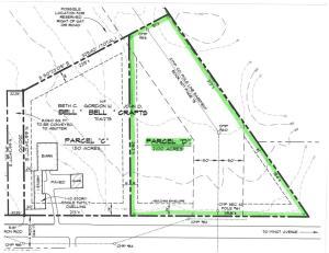 2 acre lot on Hotel Rd. Survey showing building envelope