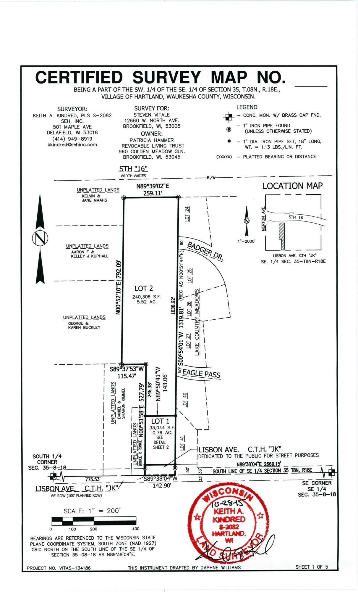 1112 Lisbon Ave, Hartland, Wisconsin 53029, ,Vacant Land,For Sale,Lisbon Ave,1614494