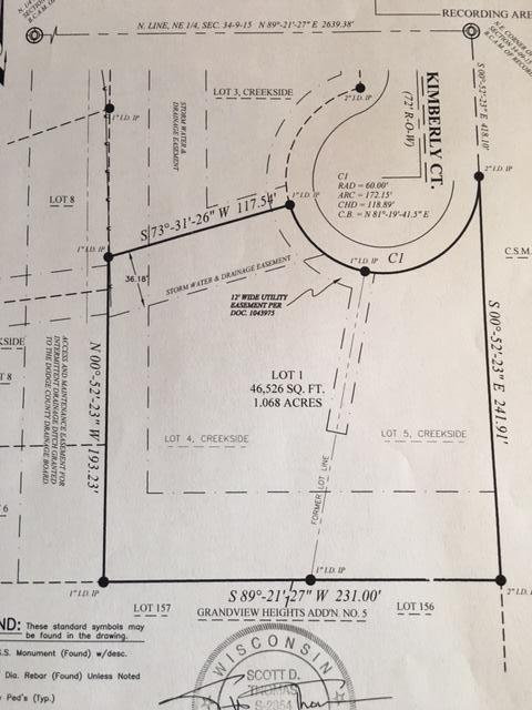 1406 Kimberly Ct, Watertown, Wisconsin 53098, ,Vacant Land,For Sale,Kimberly Ct,1622500
