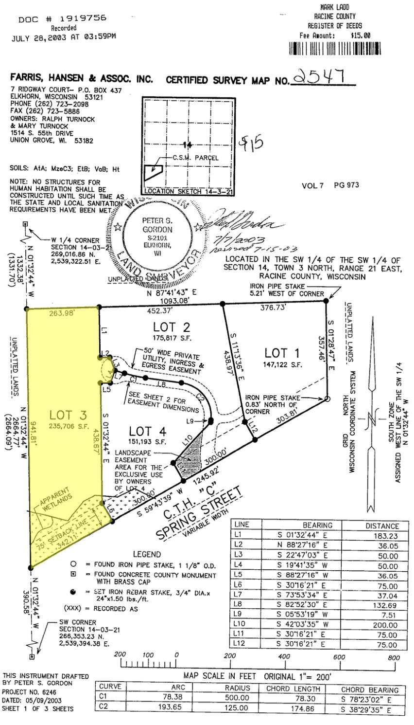 Lt3 Spring St, Yorkville, Wisconsin 53182, ,Vacant Land,For Sale,Spring St,1702541