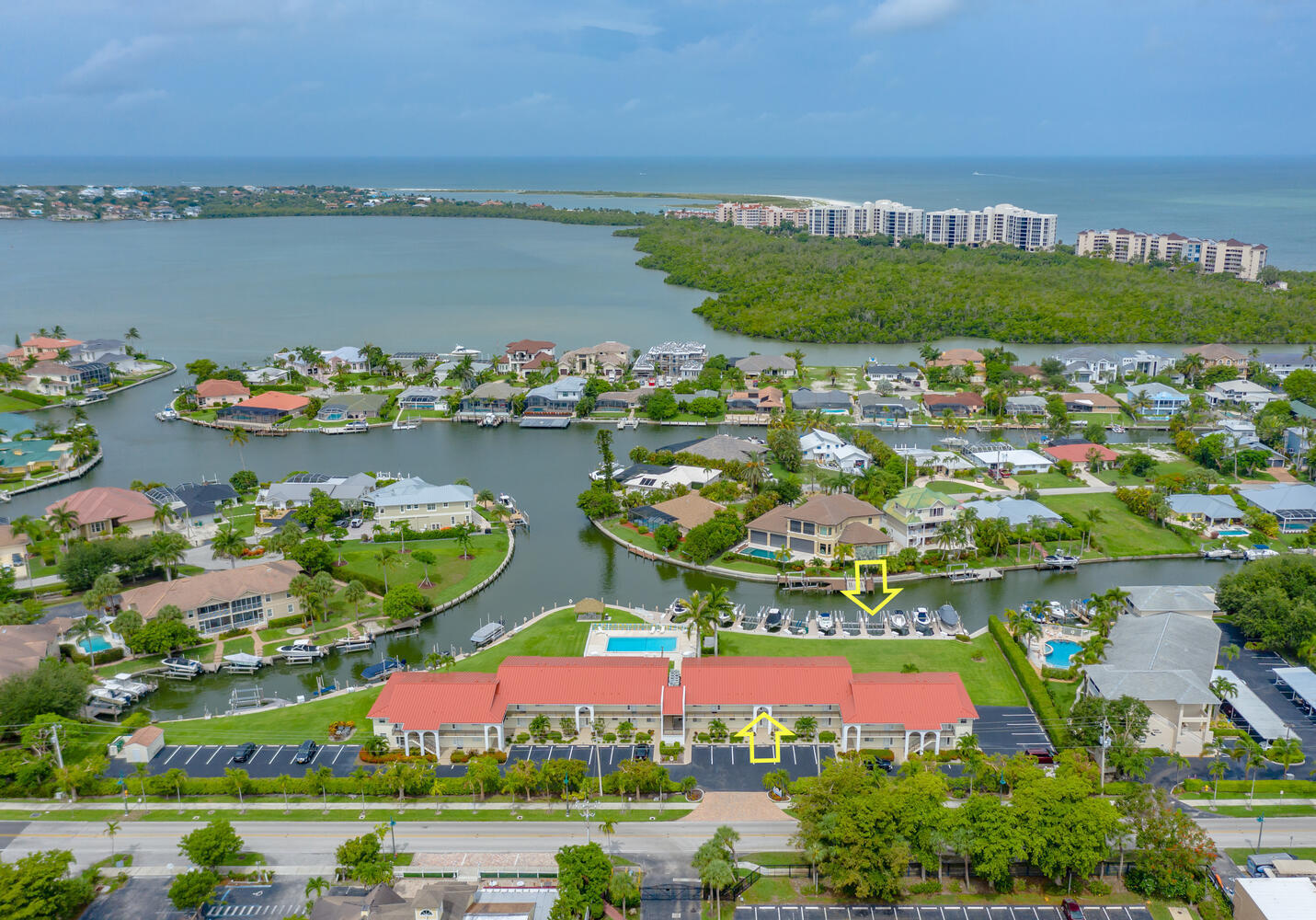 Enjoy long water views at this furnished Water Direct, 2 Bedroom, 2 Bathroom Olde Marco condo. This sale conveys with a DEEDED boat dock and lift, including: new pulleys, gem remote upgrade and new dock box! Situated on the second floor this property boasts of: an open floor plan with stunning water views, water views off the master bedroom, laundry in the unit, and impact glass sliders on all windows excluding the slider. Sit back on your private screened lanai and enjoy DAILY Marco Island sunsets without having to leave your property! This community is great for the avid boater. Property upgrades include: NEW HVAC 2020, reverse osmosis water filter system, new blinds on all windows, new ceiling fans, and more. Enjoy the new roof and exterior paint from2019 and new Pool Furniture purchased in 2020. You will surely love this smaller community in the Historical Old Marco area of the island. It has beautiful grounds and a very inviting pool. Enjoy paradise living at its best!
