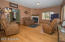 Spacious Living Area with Hardwood Floors and fireplace!