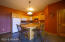 Lower Level Kitchen with Stove, Refrigerator and Microwave