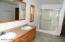 Master bath is a large room with plenty of space to move around