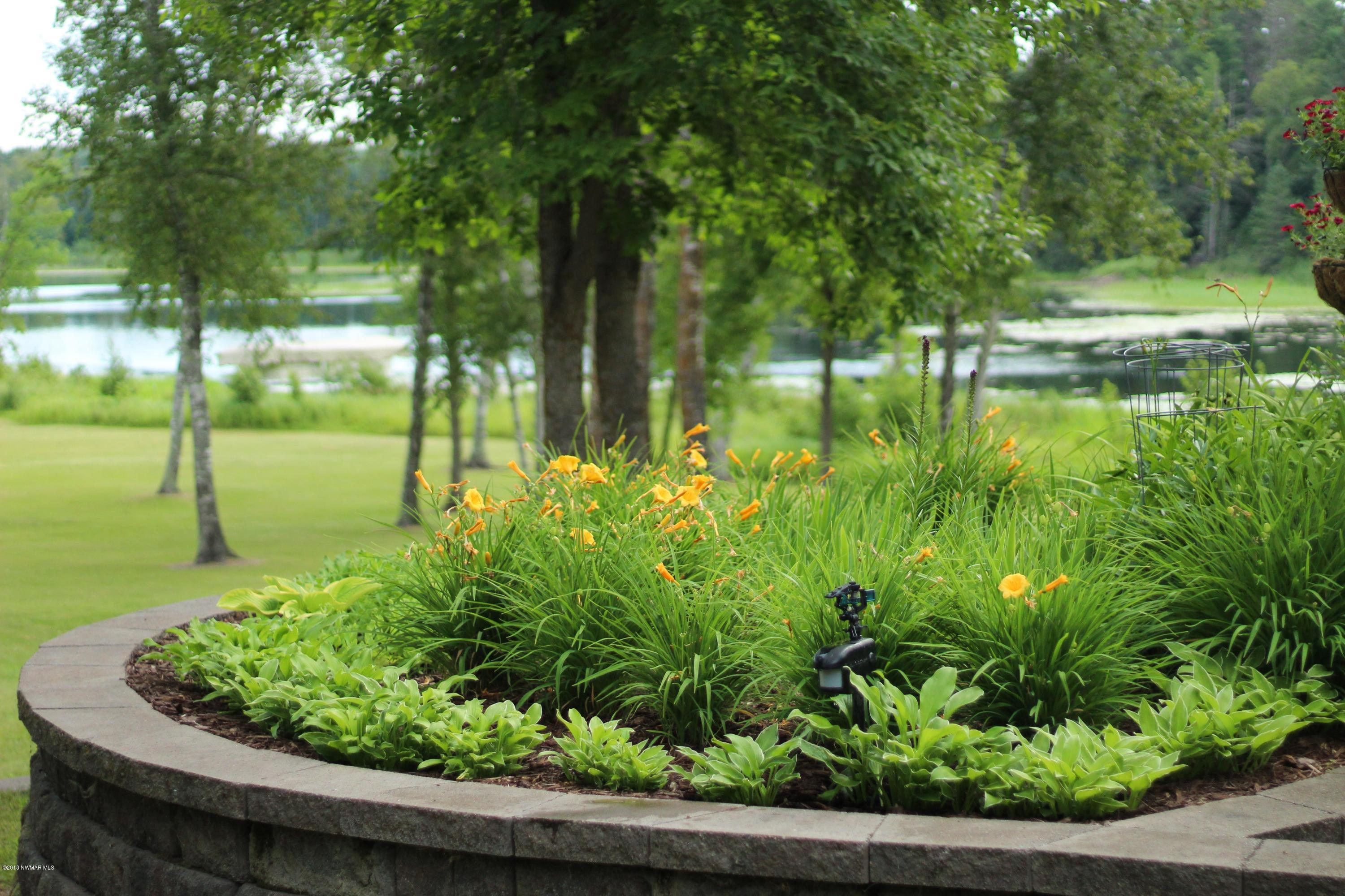 Flower bed, view of the lake