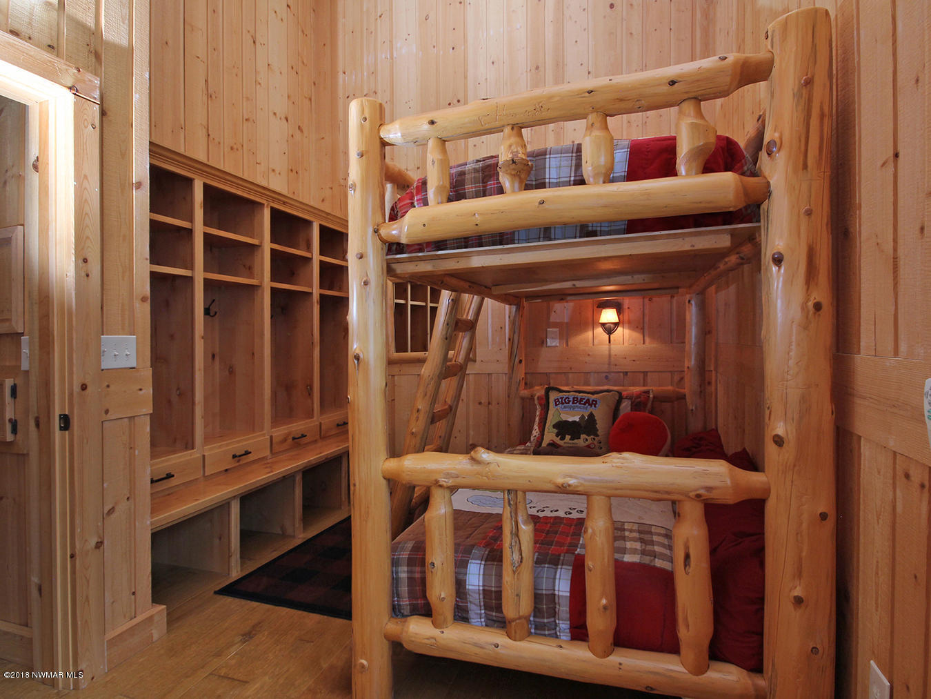 The bunk room with cubbies for storage