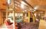 Loft area for sleeping, lower level living area. VERY spacious for a smaller cabin. Solar panels above in upper windows