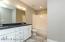 Ceramic tile floors, double granite top vanity!