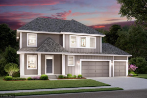 Welcome home to the Hyland. (Artist's rendering of home exterior.)