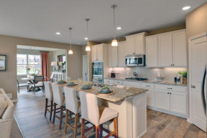 The kitchen is one of performance, and serves as a stunning centerpiece to the home. Photo of model home, finishes will vary.
